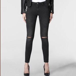ALL SAINTS Mast skinny Jeans 27 black knee hole